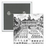 A country house garden, from 'The Gentlemen's Recr 2 Inch Square Button