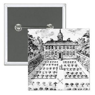 A country house garden, from 'The Gentlemen's Recr Pinback Button