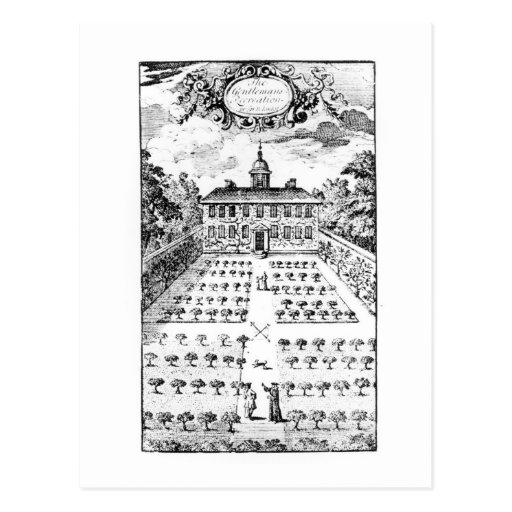 A country house garden, from 'The Gentlemen's Recr Postcard