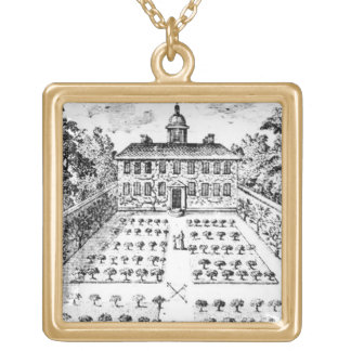 A country house garden, from 'The Gentlemen's Recr Square Pendant Necklace
