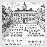 A country house garden, from 'The Gentlemen's Recr Square Sticker