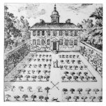 A country house garden, from 'The Gentlemen's Recr Large Square Tile