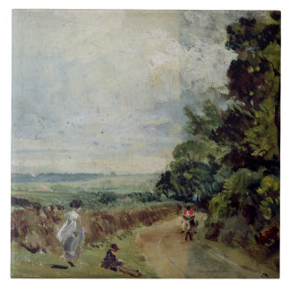 A Country road with trees and figures Ceramic Tile