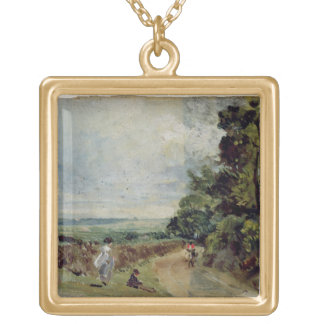 A Country road with trees and figures Gold Plated Necklace