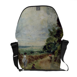 A Country road with trees and figures Messenger Bag