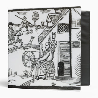 A Country Scene with a woman spinning 3 Ring Binders