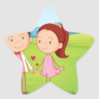 A couple dating near the tree star sticker