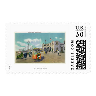 A Couple in a Boardwalk Rolling Chair Scene Postage