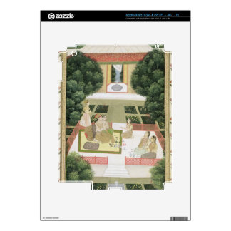A couple in a garden listening to music with femal iPad 3 decal