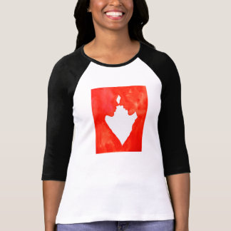 a couple in love heart shaped red and white T-Shirt