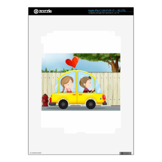 A couple inside the yellow car skins for iPad 3