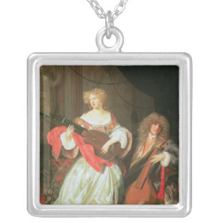 A couple making music square pendant necklace