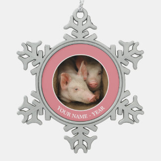 A couple of curious piglets stick their heads snowflake pewter christmas ornament