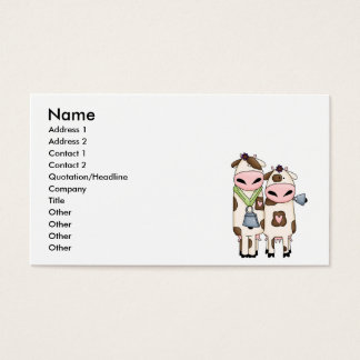 a couple of cute moo cows business card