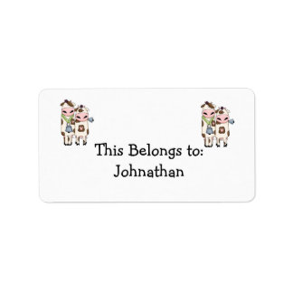 a couple of cute moo cows label
