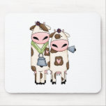 a couple of cute moo cows mouse pad