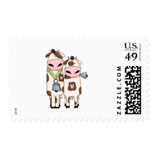 a couple of cute moo cows postage