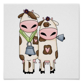 a couple of cute moo cows poster