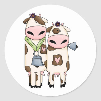 a couple of cute moo cows round stickers