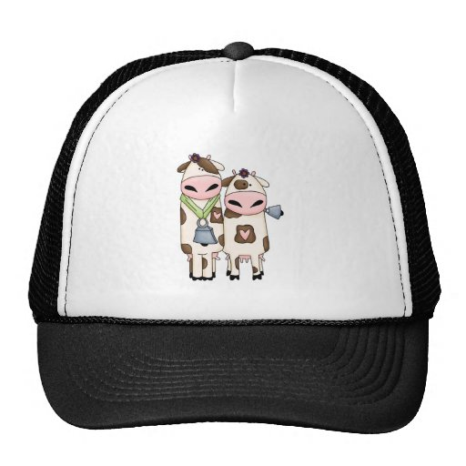 a couple of cute moo cows trucker hats