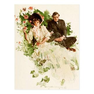 A couple reflecting in a rose garden postcard
