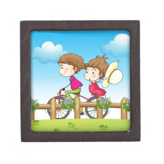 A couple riding a bicycle gift box