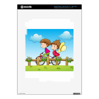 A couple riding a bicycle iPad 3 skins