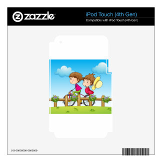 A couple riding a bicycle iPod touch 4G skins