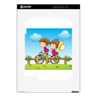 A couple riding a bicycle skins for iPad 2
