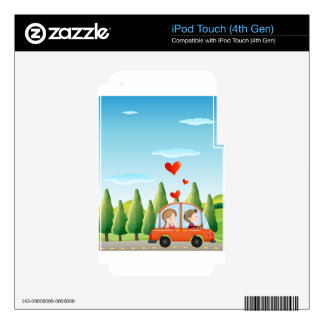 A couple riding on a car skins for iPod touch 4G