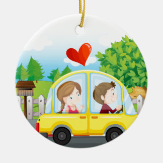 A couple riding on a yellow car ceramic ornament