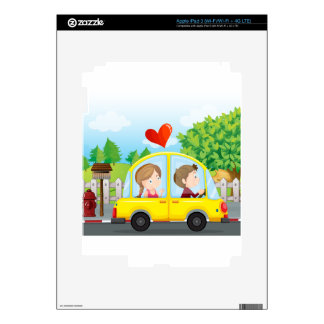 A couple riding on a yellow car iPad 3 decal
