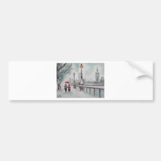 A couple walking in snowy London Gordon Bruce Car Bumper Sticker
