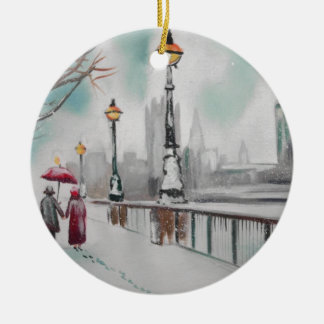 A couple walking in snowy London Gordon Bruce Ceramic Ornament