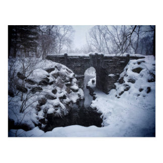 A Couple Walking Under a Snowy Glen Span Arch Postcard