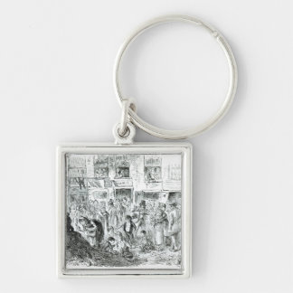 A Court for King Cholera, 1852 Silver-Colored Square Keychain