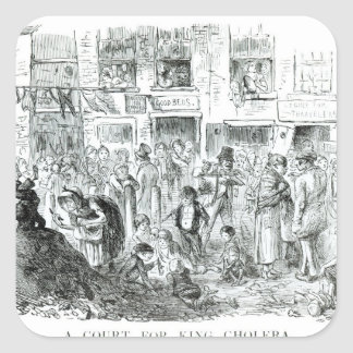 A Court for King Cholera, 1852 Square Sticker
