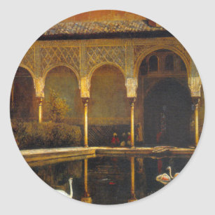A Court in the Alhambra by Edwin Lord Weeks Classic Round Sticker