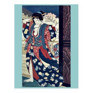 A courtesan fixing her hair by Taiso, Yoshitoshi Postcard