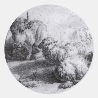 A Cow and Three Sheep by Adriaen van de Velde Classic Round Sticker