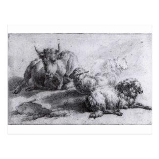 A Cow and Three Sheep by Adriaen van de Velde Postcard