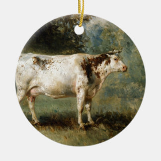 A Cow in a Landscape by Constant Troyon Ceramic Ornament