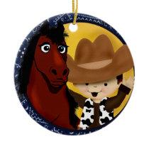 A Cowboy and his horse Ceramic Ornament