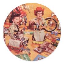 A Cowboy Christmas Classic Round Sticker
