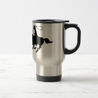 A cowboy riding with a lasso. 15 oz stainless steel travel mug