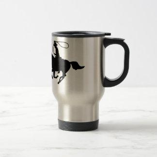 A cowboy riding with a lasso. travel mug