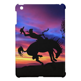 A cowboy silhouette at sunset case for the iPad mini