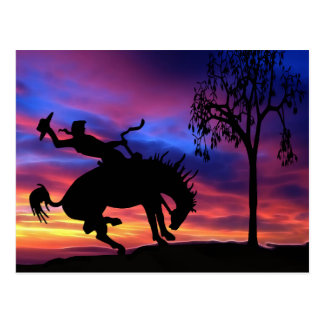 A cowboy silhouette at sunset postcard