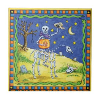 A Cowboy Skeleton Ceramic Tile