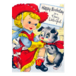 A Cowgirl and Puppy Birthday Postcard
